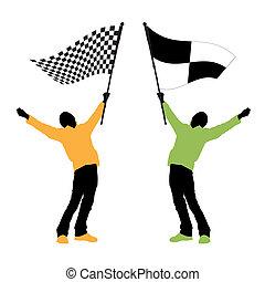 Ein Mann mit schwarz-weißer Flagge