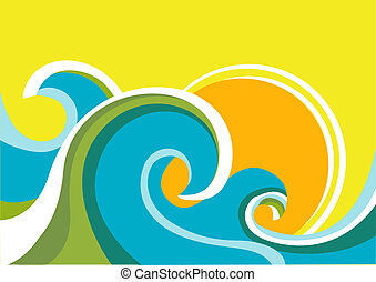 Ein Naturschiff mit Seewellen und Sonne. Vektorfarbener Hintergrund