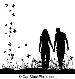 Ein Paar auf Wiese, schwarze Silhouette