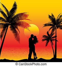 Ein paar Küsse am Strand