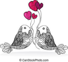 Ein paar Vögelchen lieben isoliert