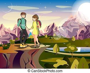 Ein paar Wanderer-Frau Reisende auf dem Berg