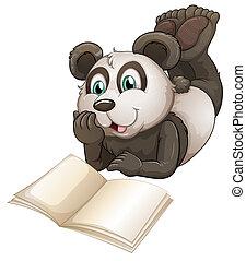 Ein Panda mit einem leeren Buch