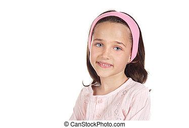 Ein reizendes kleines Mädchen, angezogen auf Rosa