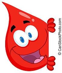 Ein roter Bluttropfen, der sich um einen Sig kümmert