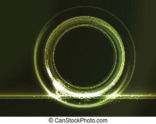 Ein runder Platzhalter mit grünen Lichteffekten