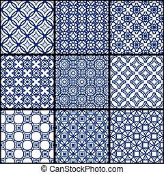 Ein Satz blauer, nahtloser geometrischer Muster.
