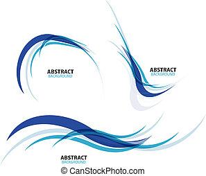 Ein Satz fließender blauer Wellenlinien.