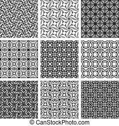 Ein Satz monochromer geometrischer, nahtloser Muster.