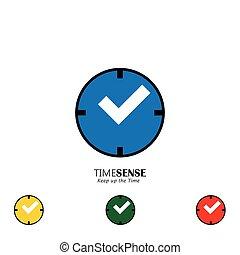 Ein Satz von Uhrenvektor-Icons mit rotem Dialer und Griffen als Kontrollzeichen, das die richtige Zeit anzeigt.