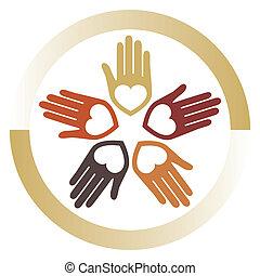 Ein Schwebevektor der Vereinigten liebenden Hände.