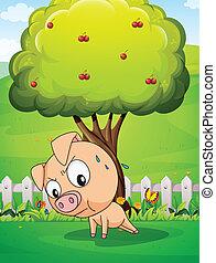 Ein Schwein, das unter dem Kirschbaum trainiert
