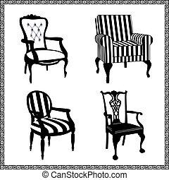 Ein Set antiker Stühlen