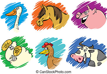 Ein Set Cartoon-Farmtiere