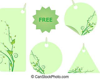 Ein Set grüner Etiketten mit Spindelfiguren mit Blättern