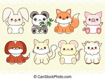 Ein Set süßer Babytiere im kawaii Stil