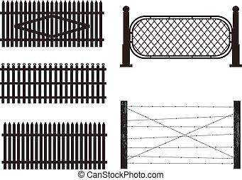 Ein Set Silhouette von Zäunen. Vector