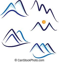 Ein Set stilisierten Schneeberg-Logos