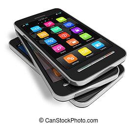 Ein Set Touchscreen Smartphones