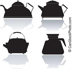 Ein Set Vektorsilhouette von Teekannen