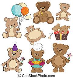 Ein Set verschiedener Teddybären
