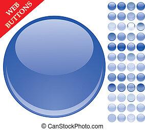 Ein Set von 49 blauen Glasknöpfen, glossy Ikonen, Webkugeln, Vektor Illustration