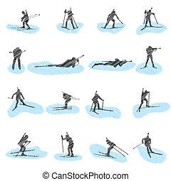 Ein Set von Biathlon Grunge Silhouettes