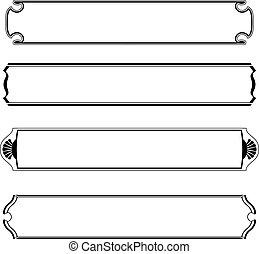Ein Set von einfachen schwarzen Transparenten