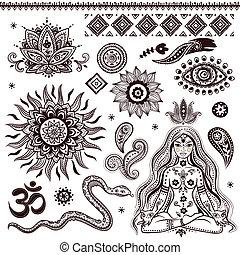 Ein Set von indischen Zierpflanzen und Symbolen