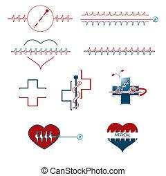 Ein Set von medizinischen kreativen Ikonen.