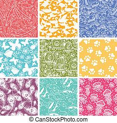 Ein Set von neun Tiervektoren, nahtlose Muster im Hintergrund