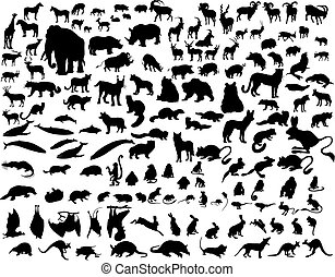 Ein Set von Tiersilhouettes