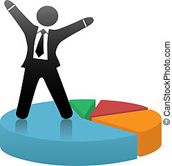 Ein symbolträchtiger Geschäftsmann feiert einen finanziellen Marktanteil, der auf einer bunten Kuchenkarte steht.