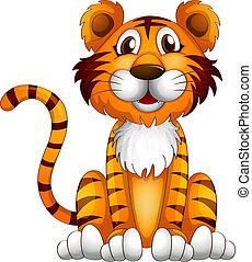 Ein Tiger sitzt