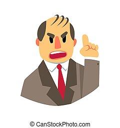 Ein wütender Mann, der darauf zeigt. Farbige Zeichentrickfigur
