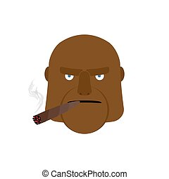 Ein wütender Mann mit Zigarre. Aggressives afrikanisches Gesicht
