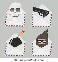 Ein weißer Umschlag mit Schädel, Pistole, Kugel und Dieb.