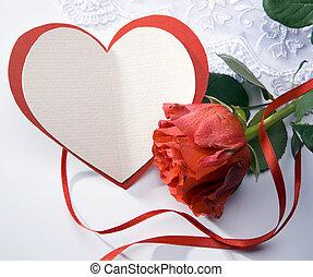 Eine Art Grußkarte mit roten Rosen und Herz