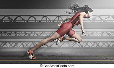 Eine Athletin, die auf der Spur ist.