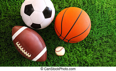 Eine Auswahl von Sportbällen auf Gras
