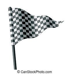 Eine dreieckige karierte Flagge