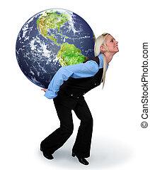 Eine Frau, die die Erde hält