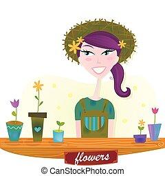 Eine Frau mit Blumen aus dem Frühlingsgarten