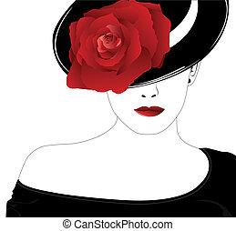Eine Frau mit Hut mit einer Rose