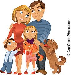 Eine glückliche Familie von vier und zwei Haustieren