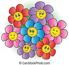 Eine Gruppe Cartoon-Blumen