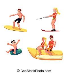 Eine Gruppe von Menschen, die die Sommer-Wasseraktivitäten genießen, Spaß haben