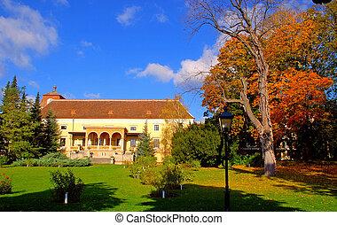 Eine Mansion mit einem Rasen
