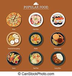 Eine Menge beliebtes Essen.