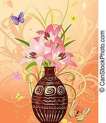 Eine Menge Blumen mit Schmetterlingen